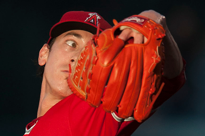 The Angels' Tim Lincecum pitches during his Angel Stadium debut against the Oakland Athletics on Thursday.<br /> <br /> ///ADDITIONAL INFO:   <br /> <br /> angels.0624kjs  ---  Photo by KEVIN SULLIVAN / Orange County Register  --  6/23/16<br /> <br /> The Los Angeles Angels take on the Oakland Athletics Thursday at Angel Stadium.<br /> <br /> <br />  6/23/16