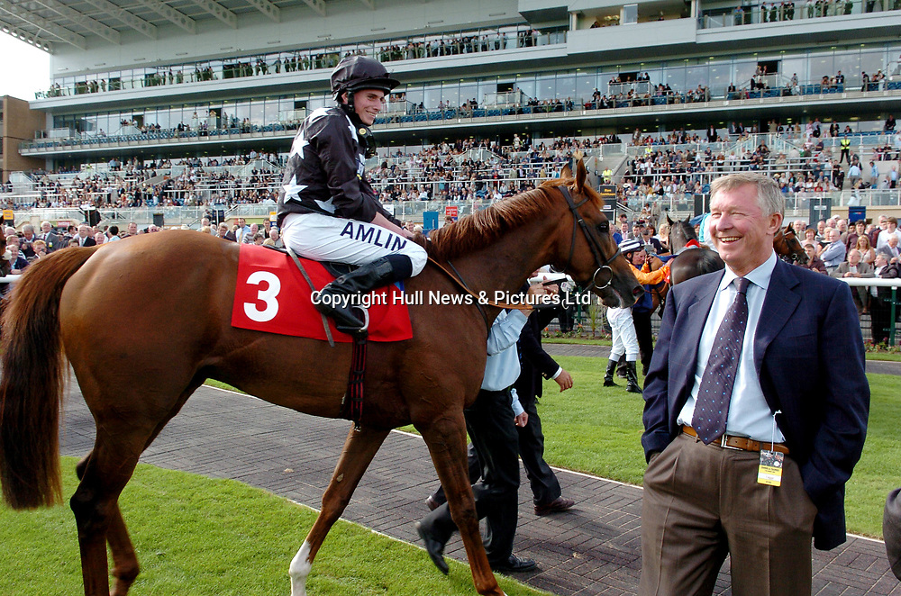 17 August 2007: Sir Alex Ferguson at Doncaster Racecourse today where he saw his wife's horse, Broomielaw (pictured) ridden by Ryan Moore, win the First TransPennine Express Maiden Stakes.<br />Picture:Sean Spencer/Hull News & Pictures 01482 210267/07976 433960<br />High resolution picture library at http://www.hullnews.co.uk<br />©Sean Spencer/Hull News & Pictures Ltd