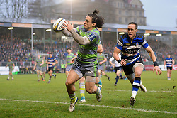 Juan Pablo Socino of Newcastle Falcons gathers the ball behind his own try-line - Mandatory byline: Patrick Khachfe/JMP - 07966 386802 - 27/01/2018 - RUGBY UNION - The Recreation Ground - Bath, England - Bath Rugby v Newcastle Falcons - Anglo-Welsh Cup