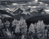 Dramatic clouds over the Grenadier Range in Colorado, USA Black and White Photo