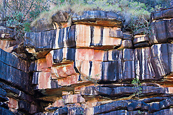 Striking discoloration on a rockface in the Hunter River.