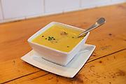 cauliflower and apple soup, spiced with curry and apple cardamom chutney - Play Food & Wine, 1 York St., Ottawa
