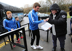 Coventry City's Chris Stokes, who spent five years at Forest Green Rovers, signs an autograph as he returns to The New Lawn