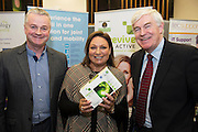 Liam Sammon and Daithi O'Connor from Revive with Norah Casey  at the annual SCCUL Enterprise Awards prize giving ceremony and business expo which was hosted by NUI Galway in the Bailey Allen Hall, NUIG. Photo:Andrew Downes