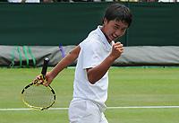 Tennis - 2019 Wimbledon Championships - Week Two, Wednesday (Day Nine)<br /> <br /> Boy's Singles, Quarter-Final: Shintaro Mochizuki (JPN) v Arthur Fery (GBR)<br /> <br /> Shintaro Mochizuki celebrates his victory, on Court 4.<br /> <br /> COLORSPORT/ANDREW COWIE