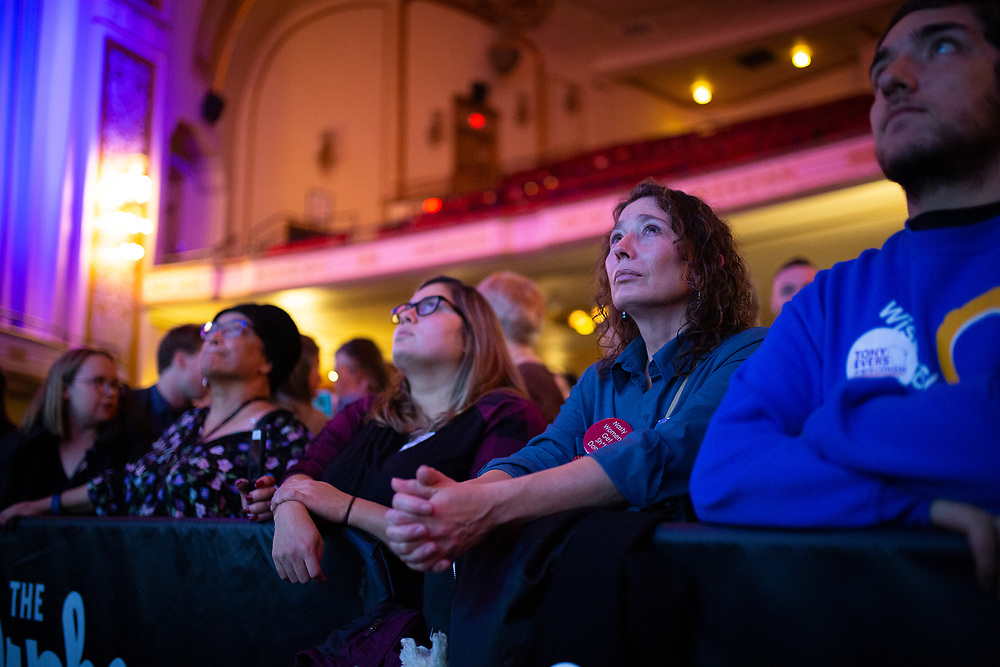 Dee Hanson looks on during the Tony Evers Election Night watch party at the Orpheum Theater in Madison, Wisconsin, Tuesday, Nov. 6, 2018.