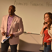"""ROSEWOOD: Pictured L-R: Morris Chestnut and Jaina Lee Ortiz in the """"Tree Toxin & 2 Stories"""" episode on ROSEWOOD airing Thursday, Nov. 3 (8:00-8:59 PM ET/PT) on FOX. ©2016 Fox Broadcasting Co. CR: Eddy Chen/FOX"""