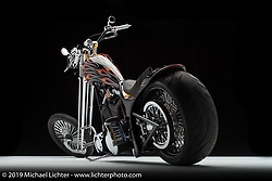 Jerry Graves flame softail chopper, with Sugar Bear front end. Photographed by Michael Lichter in Columbus, OH on 2/11/18. ©2018 Michael Lichter.
