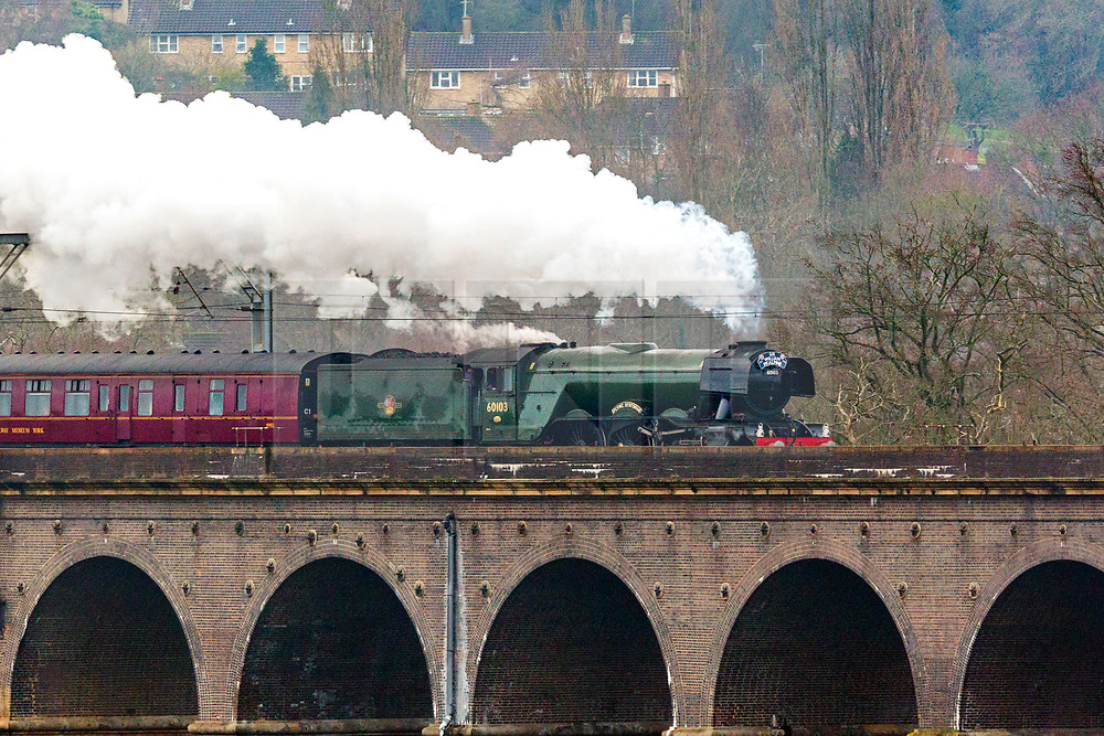 © Licensed to London News Pictures. 11/01/2019. Digswell UK. 60103 Flying Scotsman crosses Digswell viaduct pulling the Scotsman Salute on route from London Kings Cross to York this morning. The Flying Scotsman is travelling to the National Railway Museum in York to take part in an event to honour former Flying Scotsman owner Sir William McAlpine who died last year. Photo credit: Andrew McCaren/LNP