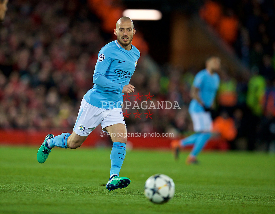 LIVERPOOL, ENGLAND - Wednesday, April 4, 2018: Manchester City's David Silva during the UEFA Champions League Quarter-Final 1st Leg match between Liverpool FC and Manchester City FC at Anfield. (Pic by David Rawcliffe/Propaganda)