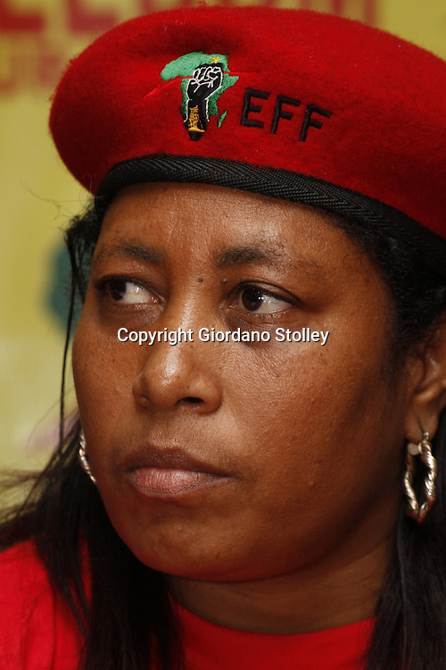 DURBAN - 14 August 2013 - Hlengiwe Hlophe, a member of the National Command Team of the newly formed Economic Freedom Fighters political party at the party's first press briefing in KwaZulu-Natal. EFF was founded by expelled ANC Youth League president Julius Malema. Picture: Giordano Stolley