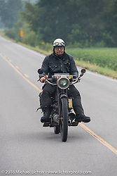 Andy Kaindl of Germany riding his 4-cylinder 1915 Henderson class-2 motorcycle during the Motorcycle Cannonball Race of the Century. Stage-6 from Cape Girardeau, MO to Springfield, MO. USA. Thursday September 15, 2016. Photography ©2016 Michael Lichter.