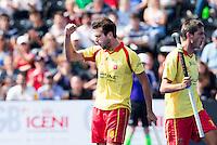LONDON -  Unibet Eurohockey Championships 2015 in  London. Spain v France .  Spanish  Gabriel Dabanch has scored 1-0.  WSP Copyright  KOEN SUYK