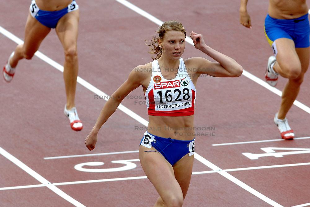 10-08-2006 ATLETIEK: EUROPEES KAMPIOENSSCHAP: GOTHENBORG <br /> Rusakova, Natalya (RUS) wint de 200 meter in haar serie<br /> ©2006-WWW.FOTOHOOGENDOORN.NL