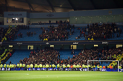 MANCHESTER, ENGLAND - Monday, April 30, 2012: Police watch as the Manchester United supporters leave the stadium after the Premiership match against Manchester City at the City of Manchester Stadium. (Pic by David Rawcliffe/Propaganda)