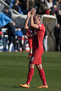 Luke Summerfield of York City FC (8) applauds the fans after the final whistle at the Sky Bet League 2 match between Hartlepool United and York City at Victoria Park, Hartlepool, England on 16 April 2016. Photo by George Ledger.