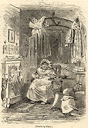Sarah Gamp, a character from the novel  'Martin Chuzzlelwit' by Charles Dickens (1843-1844) drinking tea in her bed-sitting room. The name Gamp for an umbrella comes from her, and her umbrella is beside the fire. It is also a term for a midwife, which was one of her callings. Illustration by 'Phiz' (Hablot Knight Brown 1815-1892).