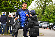 AFC Wimbledon Defender Terell Thomas (6) arrives at the Cherry Red Records Stadium ahead of the EFL Sky Bet League 1 match between AFC Wimbledon and Wycombe Wanderers at the Cherry Red Records Stadium, Kingston, England on 27 April 2019.