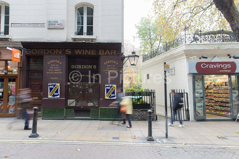 Gordon's Wine Bar on 2nd November 2015 in London, United Kingdom. A 19th-century wine bar in candlelit, vaulted cellars with original Dickensian-style decor on Villiers St, Central London.