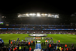 A general view of the Etihad Stadium as both Manchester City and Celtic teams line up before kick off - Mandatory by-line: Matt McNulty/JMP - 06/12/2016 - FOOTBALL - Etihad Stadium - Manchester, England - Manchester City v Celtic - UEFA Champions League Group C