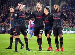 December 28, 2017 - London, England, United Kingdom - L-R Arsenal's Granit Xhaka, Arsenal's Shkodran Mustafi, Arsenal's Alexis Sanchez and Arsenal's Alexandre Lacazette celebrates Arsenal's Alexis Sanchez 2nd goal..during Premier League  match between Crystal Palace and Arsenal at Selhurst Park Stadium, London,  England 28 Dec 2017. (Credit Image: © Kieran Galvin/NurPhoto via ZUMA Press)