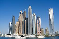 Skyline of skyscrapers in marina area at  New Dubai in United Arab Emirates