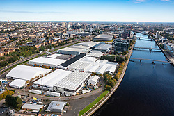 Glasgow, Scotland, UK. 6th October 2021. Aerial views of the site of the COP26 international climate change conference and summit to be held in Glasgow during November 2021. The site is beside the River Clyde near Pacific Quay and large temporary structures can be seen to house the tens of thousands of delegates, heads of state and journalists who will attend the two week event.  Iain Masterton/Alamy Live News.