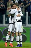 Esultanza Claudio Marchisio e Leonardo Bonucci Juventus a fine gara, celebration,<br /> Torino 13-02-2016, Juventus Stadium, Football Calcio 2015/2016 Serie A, Juventus - Napoli, Foto Filippo Alfero/Insidefoto