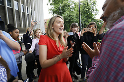 June 25, 2017 - London, England, United Kingdom - Camden Council leader GEORGIA GOULD speaks to concerned residents outside Swiss Cottage Leisure Centre, where residents of the Chalcots Estate tower blocks have been staying in Camden. The Camden Council ordered the evacuation of the towers but there are many residents refusing to leave even though the cladding of the buildings failed the fire safety test. (Credit Image: © Tolga Akmen/London News Pictures via ZUMA Wire)