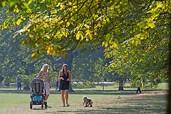 ©Licensed to London News Pictures 22/09/2020  <br /> Greenwich, UK. A family enjoy the September sun. Sunny autumn weather today in Greenwich park, Greenwich, London. Photo credit:Grant Falvey/LNP