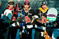 The Arctic Challenge/Halfpipe - FINALS/Tromsø/31032004:<br /> Winner Andy Finch and 2nd Steve Fisher to his right, 3rd Risto Mattila from Finland left<br /> FOTO: KAJA BAARDSEN/DIGITALSPORT