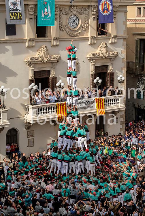 "Human tower: 2 of fm. Members of Castellers de Vilafranca build ""2 of 9 fm"" human tower of extreme difficulty in the last performance of the season in Vilafranca del Penedès,Barcelona, Spain. 1st Nov 2019."