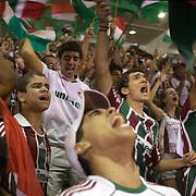 Fluminense fans celebrate after a goal scored by their team during the Fluminense V Sao Paulo, Futebol Brasileirao  League match at the Jornalista Mário Filho Stadium, Rio de Janeiro,  Brazil. 29th August 2010. Photo Tim Clayton