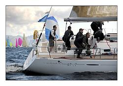 The Brewin Dolphin Scottish Series, Tarbert Loch Fyne...Fleet downwind..GBR603R  Playing FTSE  CCC First 47.7 Jonathan Anderson.