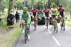 July 28, 2019, Paris, France: Slovakian Peter Sagan of Bora-Hansgrohe passes by Colombian Egan Bernal of Team Ineos wearing the yellow jersey of leader in the overall ranking, cheering with a cup of champagne during the final stage of the 106th edition of the Tour de France cycling race, from Rambouillet to Paris Champs-Elysees (128km), France, Sunday 28 July 2019. This year's Tour de France starts in Brussels and takes place from July 6th to July 28th. (Credit Image: © Pool Peter De Voecht/Belga via ZUMA Press)