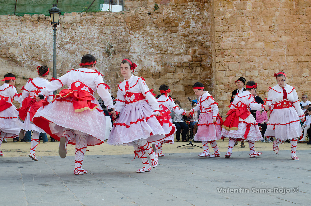 Dancers performing the 'Dance' at the main square of Cetina during the rehearsal before the procession.