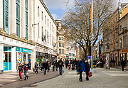 Shoppers city centre pedestrianised shopping area, Queen Street, Cardiff, South Wales, UK