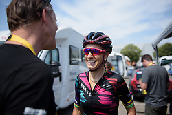 Pauline Ferrand Prevot chats to her former team mechanic at La Course High Speed Pursuit 2017 - a 22.5 km pursuit road race on July 22, 2017, in Marseille, France. (Photo by Sean Robinson/Velofocus.com)
