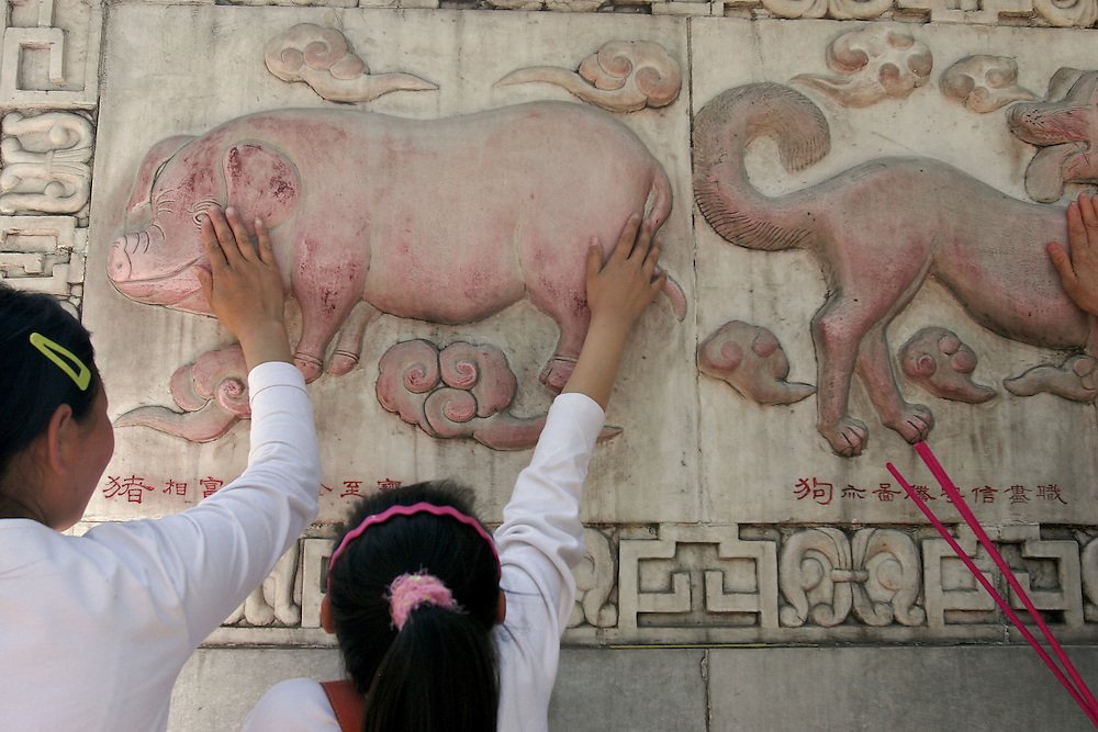 Two visitors rub the pig Zodiac symbol for good luck at Baiyuguan. This  is the year of the Golden Pig.  Baiyuguan,called White Cloud Temple in English, is over 1,200 years old and stands the south west of Beijing, China.  White Cloud Temple is the largest Daoist structure in Beijing and home of the Dragon Gate sect of Daoism.