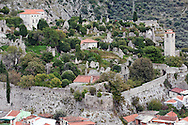 The beautifully preserved walled medieval town of Stari Bar, on the lower slopes of Rumija, near Lake Skadar and the port of Bar, Montenegro. © Rudolf Abraham