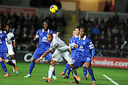 Everton's Sylvain Distin ® heads clear from Swansea city's Ashley Williams ©. Barclays Premier league, Swansea city v Everton at the Liberty Stadium in Swansea,  South Wales on Sunday 22nd Dec 2013. pic by Andrew Orchard, Andrew Orchard sports photography.