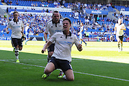 Matt Smith of Fulham © celebrates after he scores his teams 1st goal. Skybet football league championship match, Cardiff city v Fulham at the Cardiff city stadium in Cardiff, South Wales on Saturday 8th August  2015.<br /> pic by Andrew Orchard, Andrew Orchard sports photography.