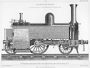 Longitudinal section of a typical British passenger steam locomotive, 1888.  The firebox heated the boiler tubes, producing steam to drive the locomotive. From 'The Popular Encyclopaedia'. (London, 1888).
