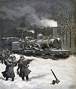 Railway train halted by a snowstorm. From 'Le Petit Journal', Paris, 5 March 1892. France, Transport Railroad, Steam, Locomotive, Weather, Winter, Cold