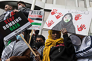 Tens of thousands of people attend a March for Palestine from Speakers Corner to the Israeli embassy in solidarity with the Palestinian people on Nakba Day on 15th May 2021 in London, United Kingdom. The march, which was organised by Palestine Solidarity Campaign PSC, CND, Friends of Al Aqsa, Muslim Association of Britain, Palestinian Forum in Britain and Stop The War Coalition, took place in protest against Israeli air raids on Gaza, the deployment of Israeli forces to the Al-Aqsa mosque during Ramadan and attempts to forcibly displace Palestinian families from the Sheikh Jarrah neighbourhood of East Jerusalem and speakers called for an end to Israeli support for and arms sales to Israel.