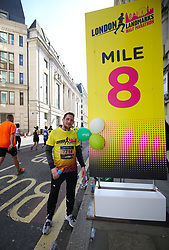Runners at the 8 MIle point during the 2019 London Landmarks Half Marathon.