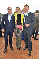 Left to right, JON ZAMMETT, DARCEY BUSSELL and ANGUS FORBES at the Audi Polo Challenge at Coworth Park, Blacknest Road, Ascot, Berkshire on 31st May 2015.