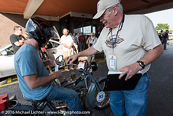 Scott Jacobs arrive's at the finish line at the end of day-1 of the Motorcycle Cannonball Race of the Century. Stage-1 from Atlantic City, NJ to York, PA. USA. Saturday September 10, 2016. Photography ©2016 Michael Lichter.
