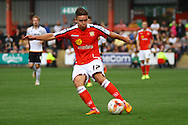 Crewe Alexandra's Billy Waters tries a shot at goal . Skybet football league one match, Crewe Alexandra v Port Vale at the Alexandra Stadium in Crewe on Saturday 13th Sept 2014.<br /> pic by Chris Stading, Andrew Orchard sports photography.