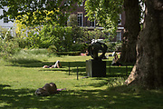 Oval form by Barbara Hepworth,  Sculpture in the park,  from an upcoming auction at Christies, St. James's Sq.park  London. 24 May 2017